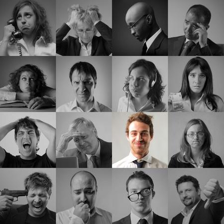 menschen unterwegs: Collage von gestresst und traurig Geschäftsleute und lächelnd Geschäftsmann in der Mitte
