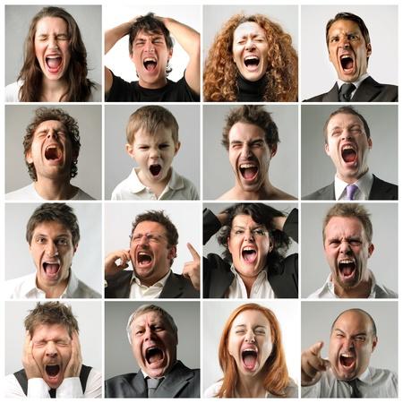 enojo: Collage de la gente gritando Foto de archivo