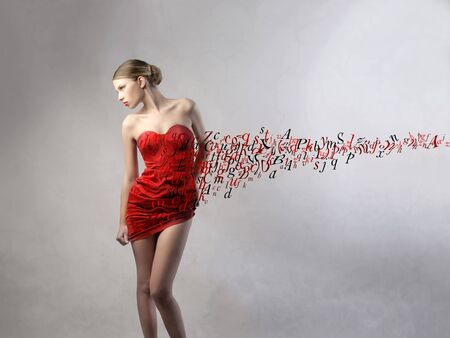 write a letter: Beautiful woman with red dress and letters flying away from it