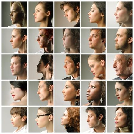perfil de mujer rostro: Composición de los perfiles de las personas