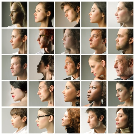 kinderen: Samenstelling van de profielen van mensen Stockfoto