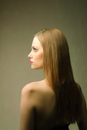 woman profile face: Beautiful woman Stock Photo