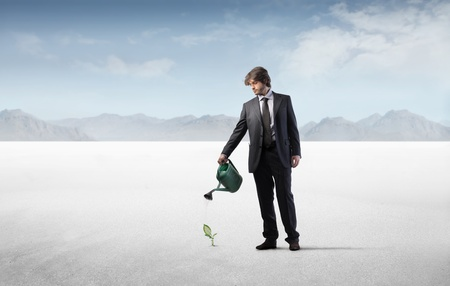 Businessman watering a little plant in the desert Stock Photo - 8734824