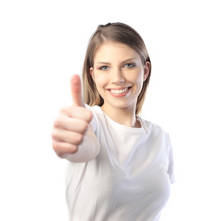 Smiling beautiful woman with thumbs up Stock Photo - 8734882