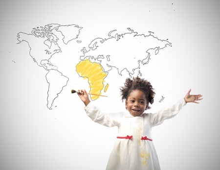 human rights: Smiling little african girl with world map on the background