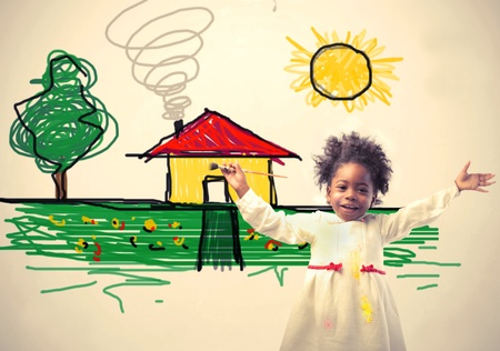 dream home: Smiling little african girl with drawing on the background Stock Photo