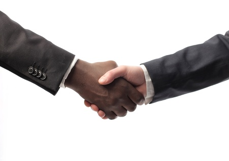 black handshake: African businessmans hand shaking white businessmans hand