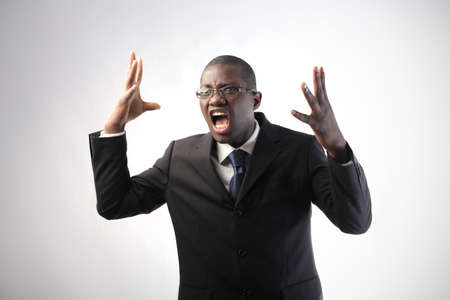 Angry african businessman screaming Stock Photo - 8852994