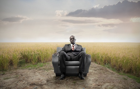 African businessman sitting on an armchair on a field Stock Photo - 8856449