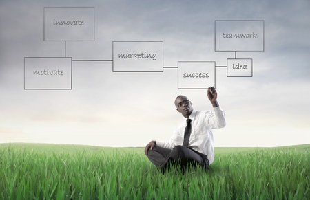 respecting: African businessman drawing a business plan on a green meadow