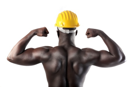 African worker with security cap showing his muscles photo