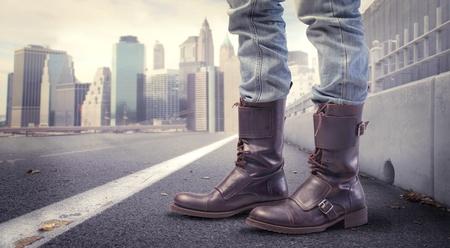 Closeup of fashion shoes on a city street photo