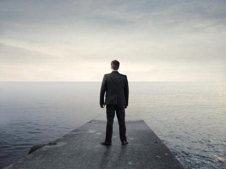 wharf: Businessman on a wharf