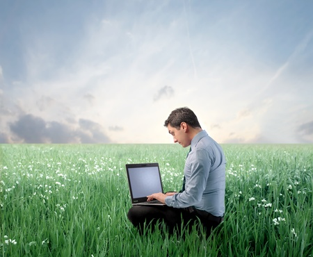 Businessman using a laptop on a green meadow Stock Photo - 8999975