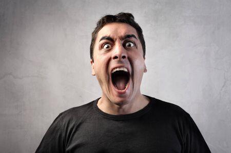 crazy man: Man shouting Stock Photo