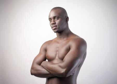 barechested: Handsome bare-chested african man