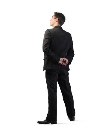 man back view: young elegant businessman