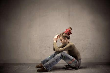 Sad woman in alternative clothes photo