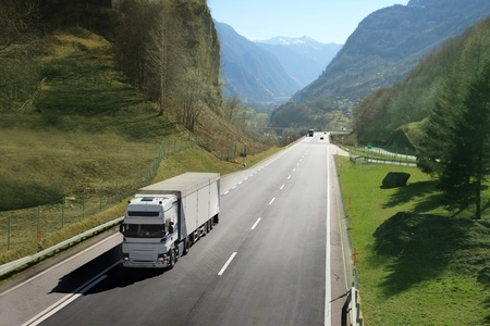 Truck on a mountain road photo