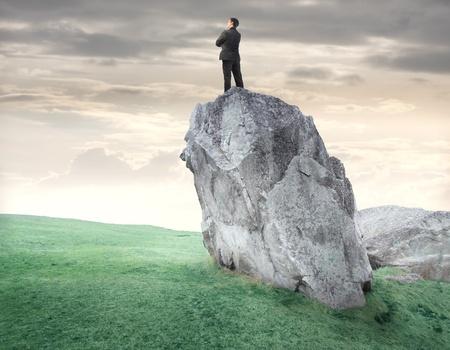 Jeune homme d'affaires debout sur un rocher sur une verte prairie