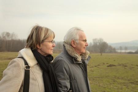 Senior couple in a park photo