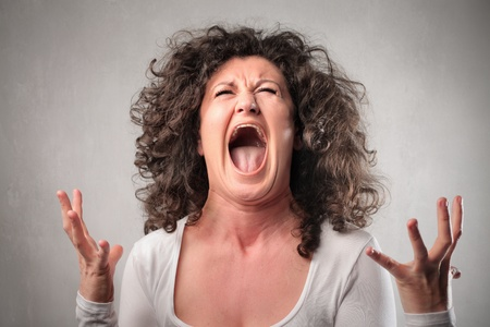 screaming face: Angry woman shouting