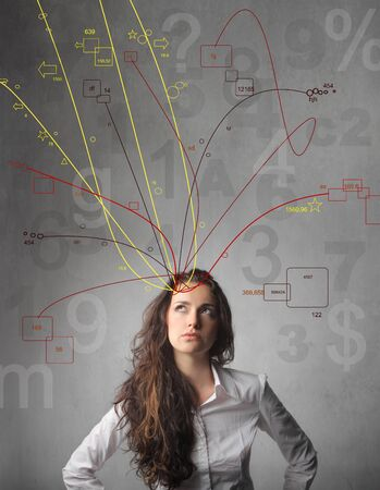 complex system: Thoughtful businesswoman with many ideas coming out of her head Stock Photo