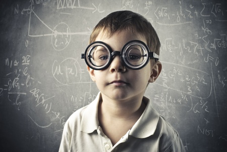 Kind met dikke brillen Stockfoto