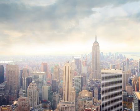 Aerial view of Manhattan at sunrise photo