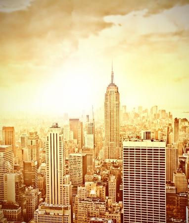 Skyline of Manhattan at sunset photo