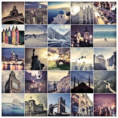 Composition of places and landmarks around the world photo
