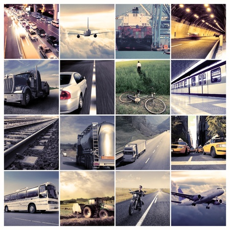 means of transportation: Composition of means of transportation Stock Photo