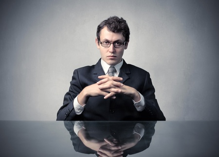 unpleasant: Businessman with serious expression Stock Photo