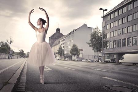 dancer legs: Ballerina dancing on a city street