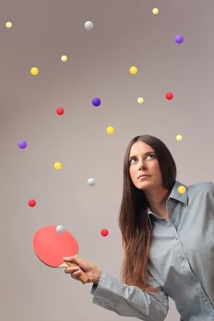 ping pong: Beautiful woman playing ping pong