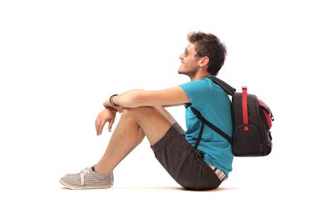 Travel Backpack: Sonriente joven turista Foto de archivo