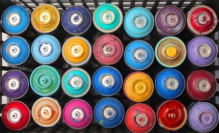 paint box: Spray paint dispensers in different colors Stock Photo