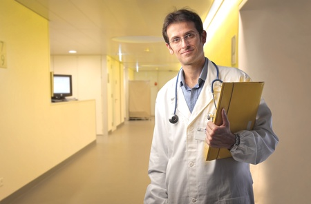 doctor computer: Smiling doctor in a hospital ward Stock Photo