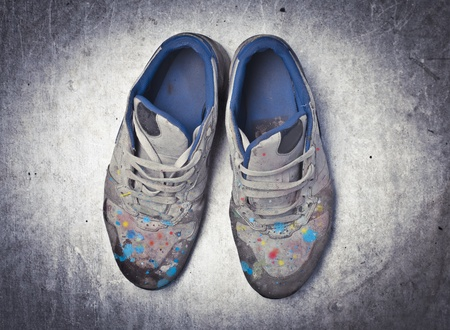 old shoes: Old shoes full of color blots