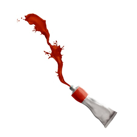 paint tube: Paint tube splashing red paint Stock Photo