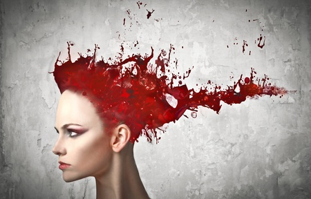 Beautiful woman with paint instead of her hair Stock Photo - 10876957