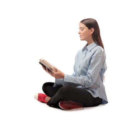 brune: Beautiful woman reading a book