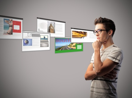 website window: Young man with browser screenshots in the background