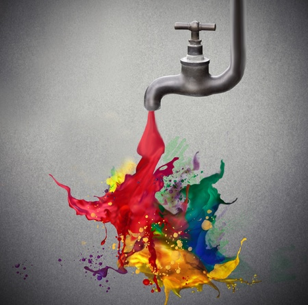 primary colours: Tap dripping some colored paint