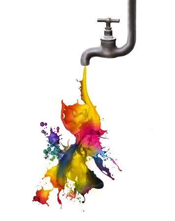taps: Grifo que gotea un poco de pintura de color