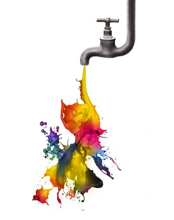 on tap: Tap dripping some colored paint