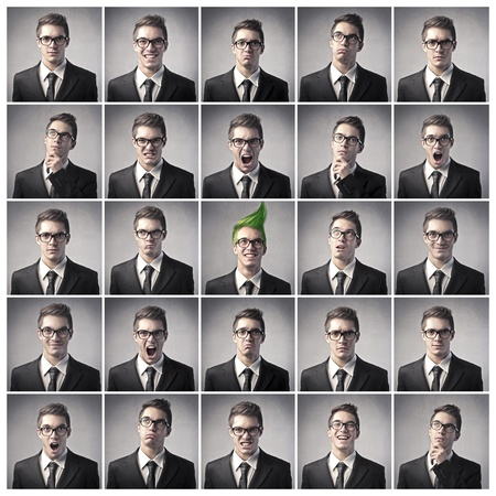 Composition of different expressions of the same businessman Stock Photo - 10952159
