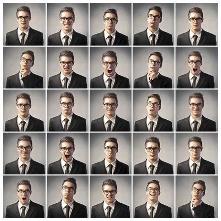 Composición de las diferentes expresiones del mismo empresario Foto de archivo