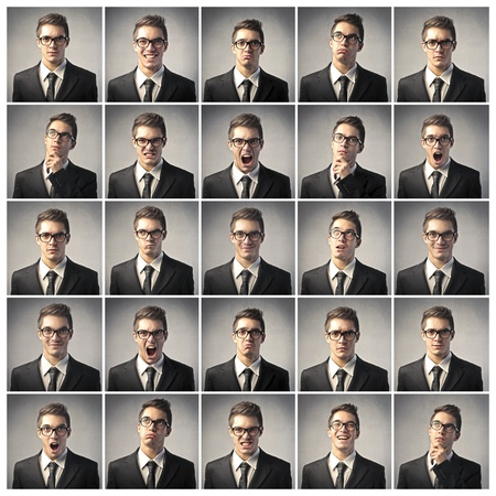 expression: Composition of different expressions of the same businessman