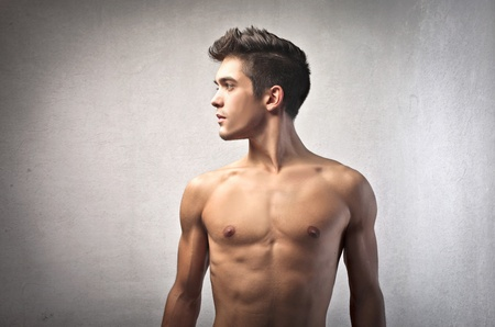 man profile: Profile of a handsome bare-chested young man
